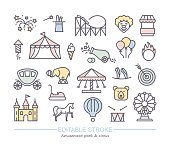 Linear icons with editable stroke on the theme of circus and amusement Park