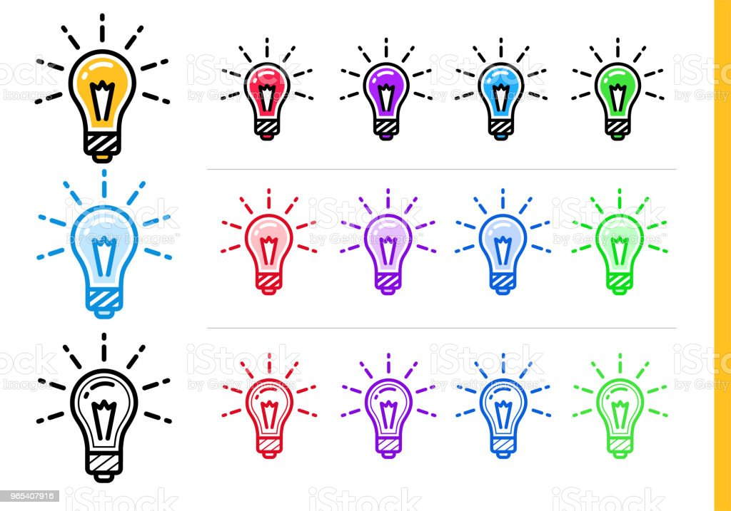 Linear idea icon for startup business in different colors. Vector elements for website, mobile application royalty-free linear idea icon for startup business in different colors vector elements for website mobile application stock illustration - download image now