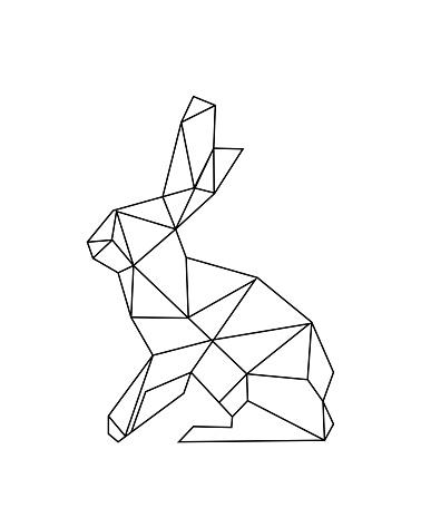 linear illustration - hare