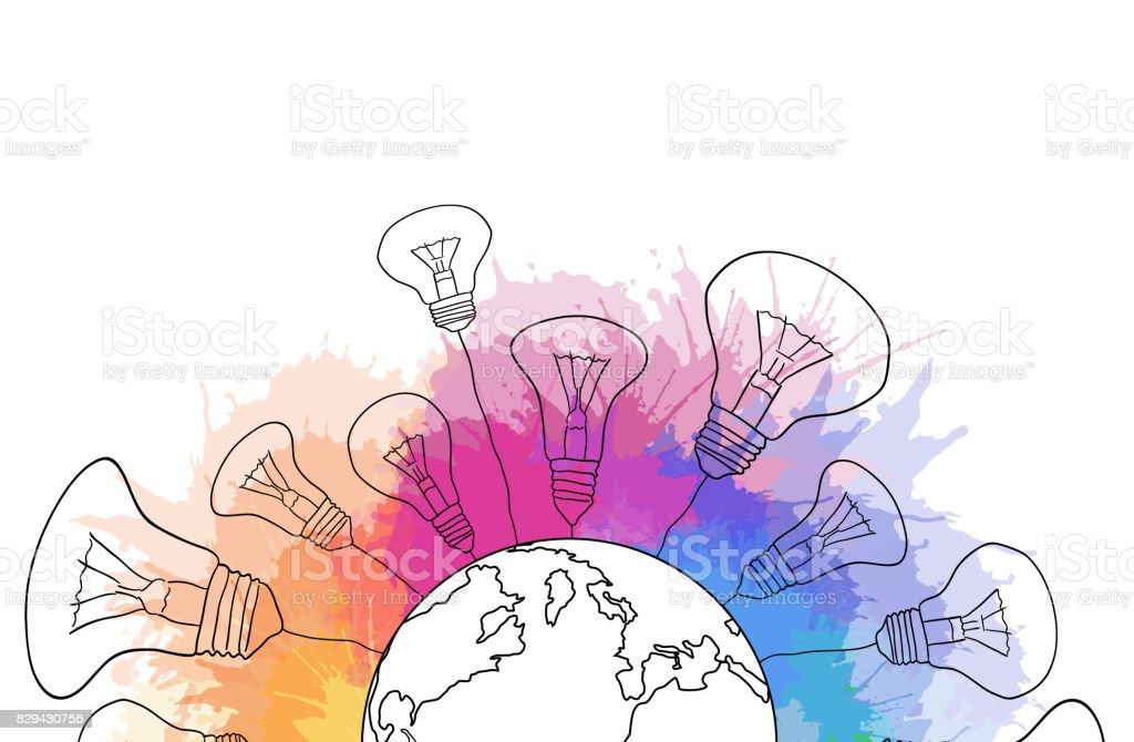 Illustration de linéaire d'une planète terre avec ampoules et vaporisateurs aquarelle arc-en-ciel. - Illustration vectorielle