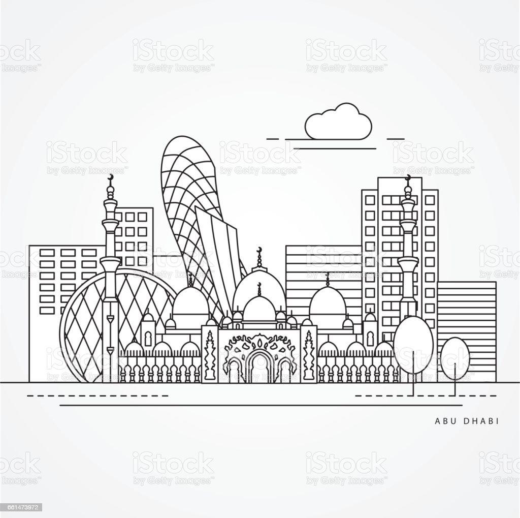 Linear illustration of Abu Dabhi, United Arab Emirates vector art illustration