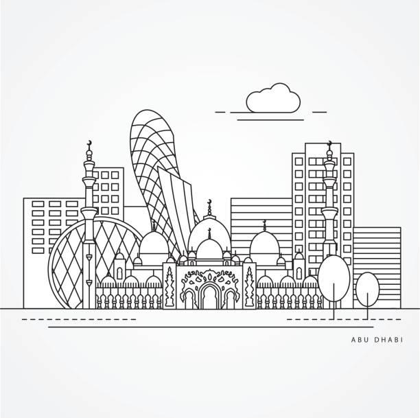 linear illustration of abu dabhi, united arab emirates - abu dhabi stock illustrations