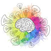 Linear illustration of  human brain with light bulbs and rainbow watercolor sprays. Creativity, idea. Vector illustration for your design