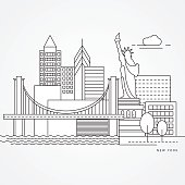 Linear illustration of New York, USA  Flat one line style. Line art with landmarks