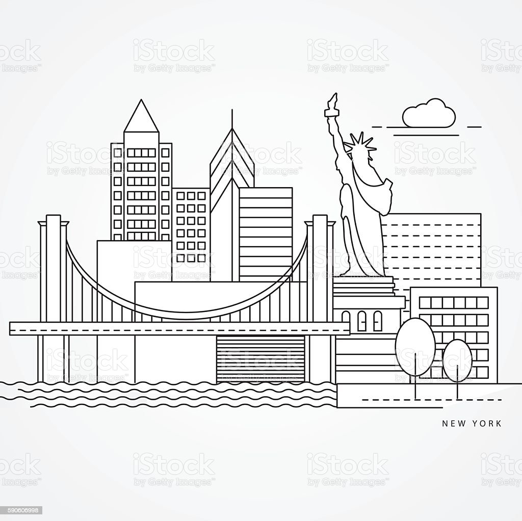 Linear illustration of New York, USA vector art illustration