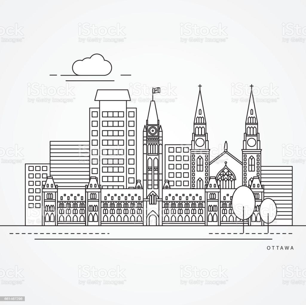 Linear illustration of Ottawa, Canada. Flat one line style. vector art illustration