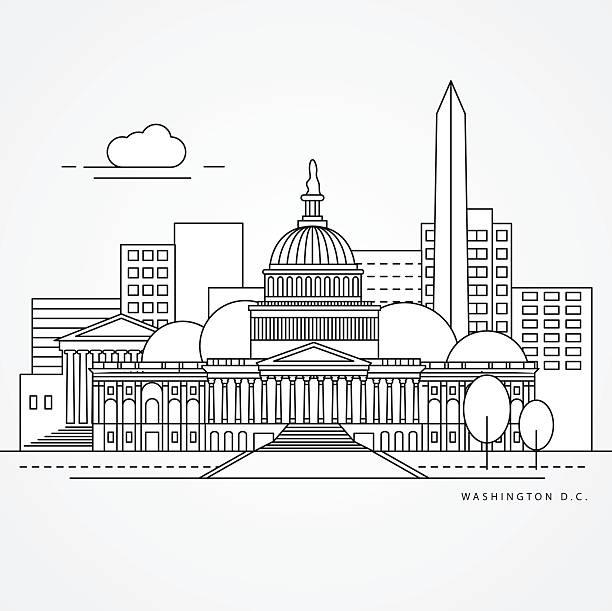 Linear illustration of Washington DC, USA Linear illustration of Washington DC, USA. Flat one line style. Line art landmarks. washington dc stock illustrations