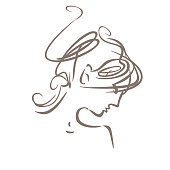 Linear illustration profile of a female head with a deliberately careless hairdo. Modern hair style.