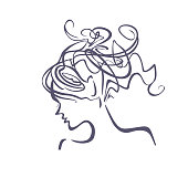 Linear illustration profile of a female head with a deliberately careless hairdo.