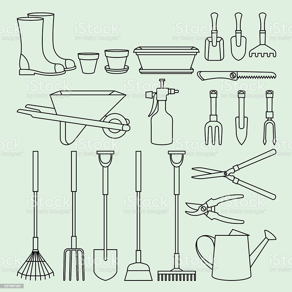 Linear illustration set of garden tools and accessories vector art illustration