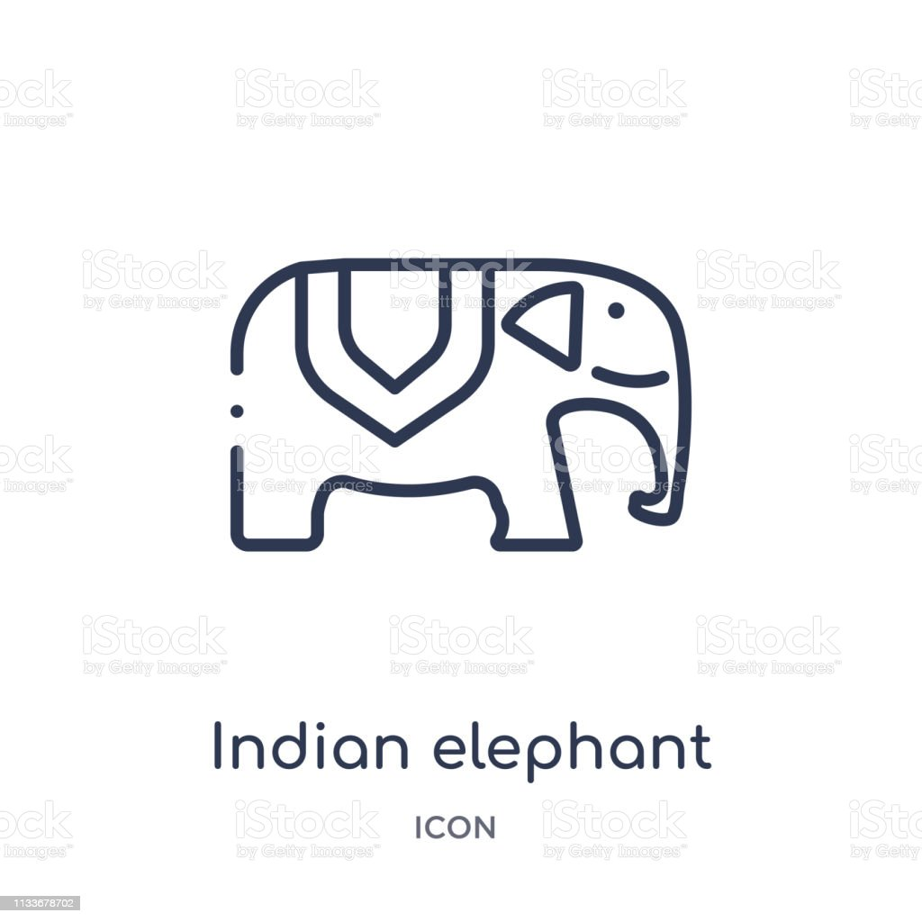 Linear Indian Elephant Icon From India Outline Collection Thin Line