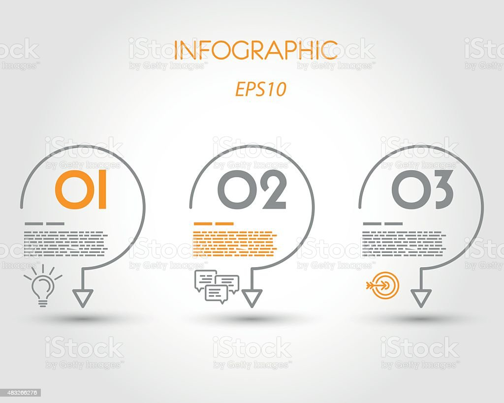 linear infographic three hooks vector art illustration