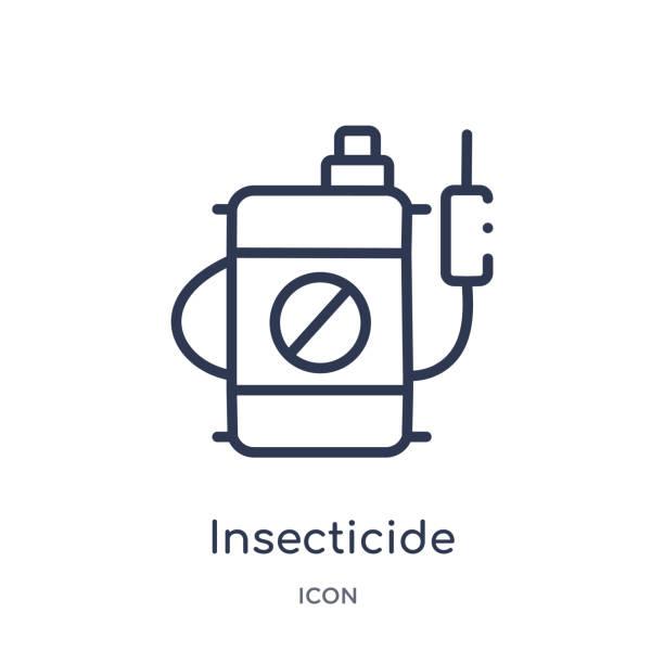 lineare insektizid-symbol aus der landwirtschaft und der gartenumrisssammlung. dünne linie insektizid-vektor auf weißem hintergrund isoliert. insektizid trendige illustration - mückenfalle stock-grafiken, -clipart, -cartoons und -symbole