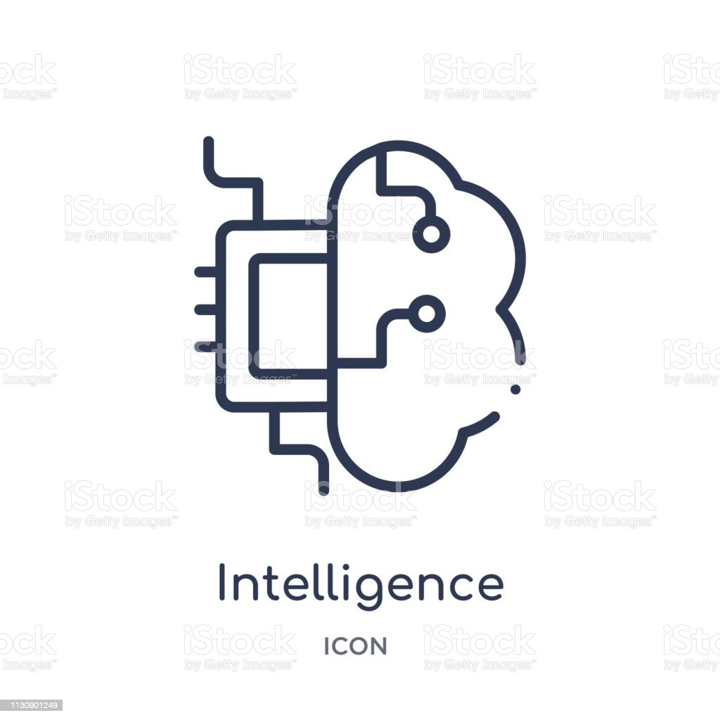 Linear intelligence icon from Artifical intelligence outline collection. Thin line intelligence vector isolated on white background. intelligence trendy illustration vector art illustration