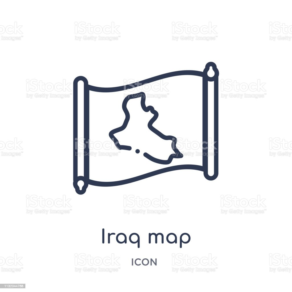 Linear Iraq Map Icon From Countrymaps Outline Collection Thin Line