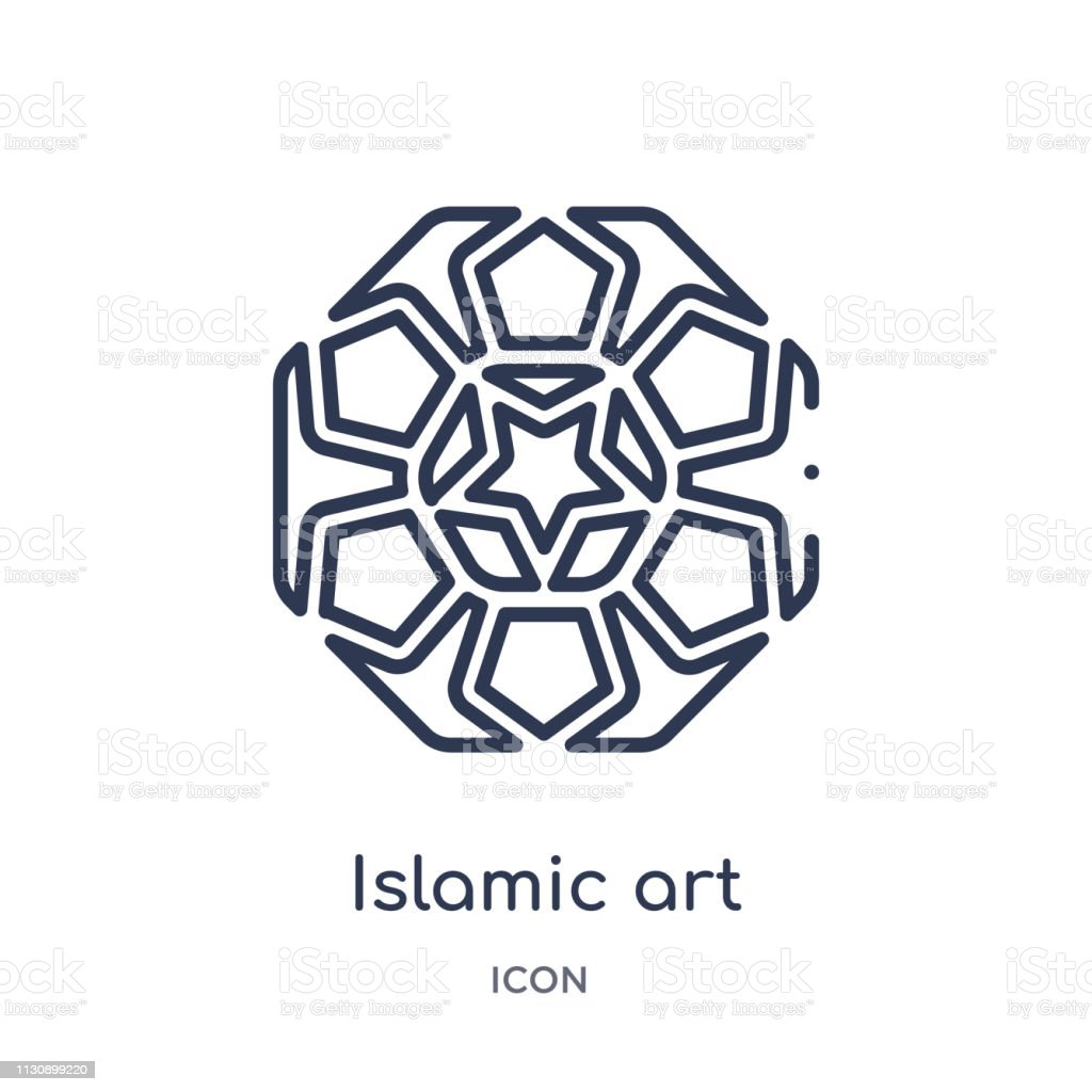 Linear islamic art icon from Art outline collection. Thin line...