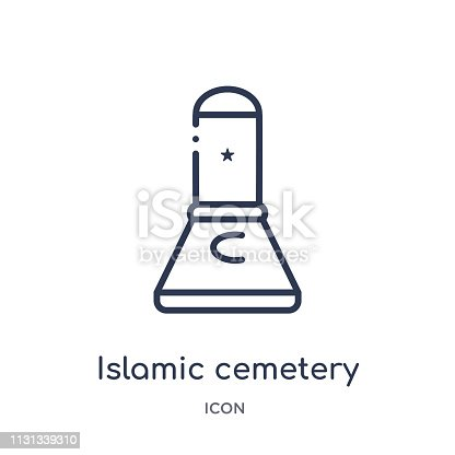 Linear islamic cemetery icon from Buildings outline collection. Thin line islamic cemetery vector isolated on white background. islamic cemetery trendy illustration