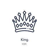 Linear king icon from Luxury outline collection. Thin line king icon isolated on white background. king trendy illustration