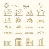Linear landscape elements vector icons set. Line trees, flowers, bushes