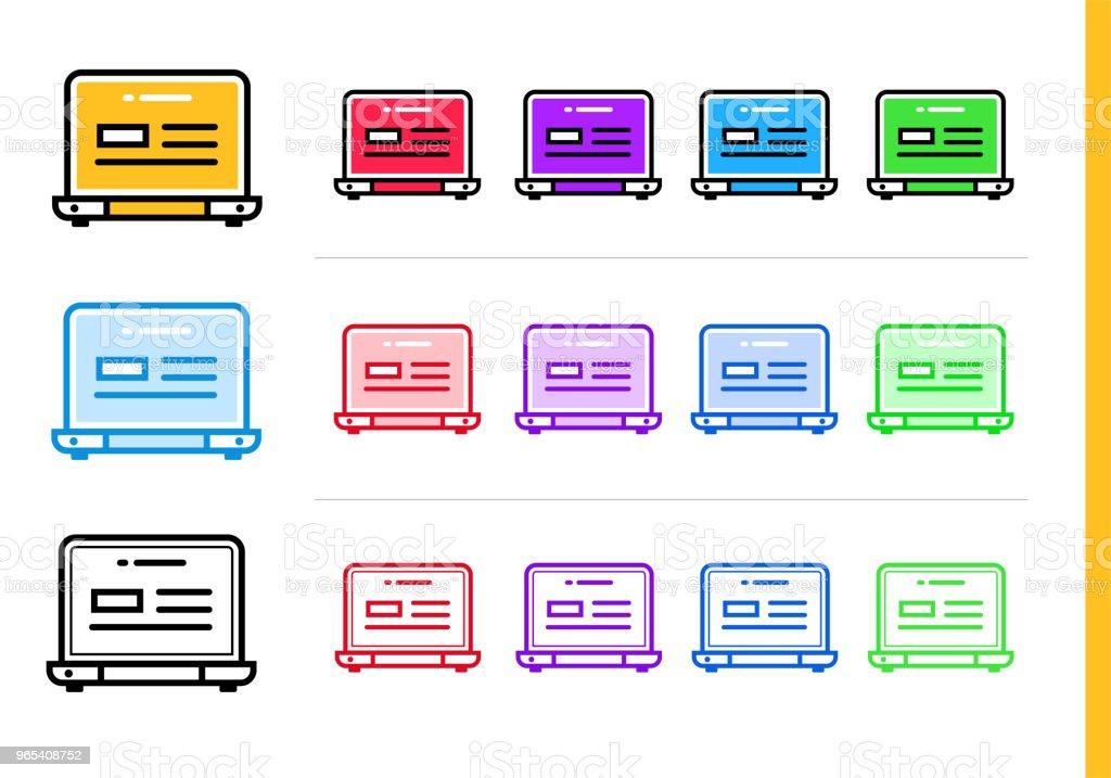 다른 색상으로 시작 비즈니스에 대 한 선형 노트북 아이콘. 웹사이트, 모바일 응용 프로그램에 대 한 벡터 요소 - 로열티 프리 0명 벡터 아트