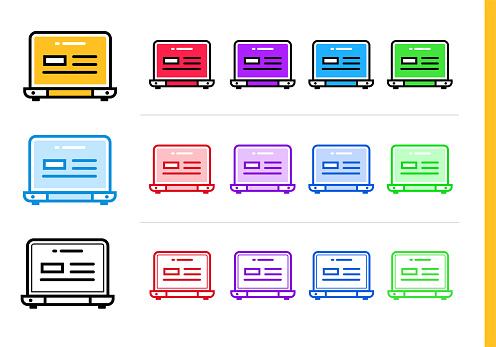 다른 색상으로 시작 비즈니스에 대 한 선형 노트북 아이콘 웹사이트 모바일 응용 프로그램에 대 한 벡터 요소 0명에 대한 스톡 벡터 아트 및 기타 이미지