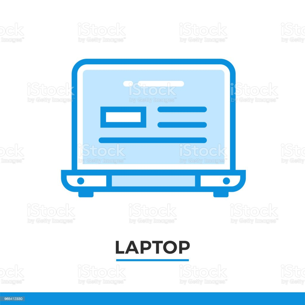 Linear laptop icon. Pictogram in outline style. Vector modern flat design element for mobile application and web design. linear laptop icon pictogram in outline style vector modern flat design element for mobile application and web design - stockowe grafiki wektorowe i więcej obrazów bez ludzi royalty-free