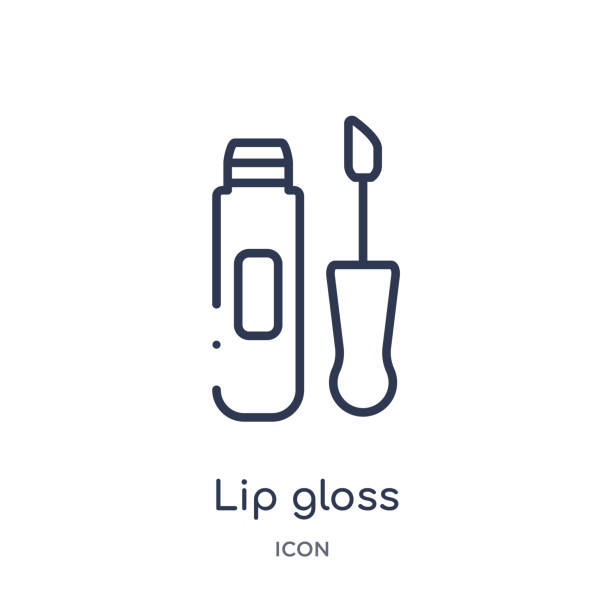 linear lip gloss icon from beauty outline collection. thin line lip gloss vector isolated on white background. lip gloss trendy illustration - błyszczyk stock illustrations