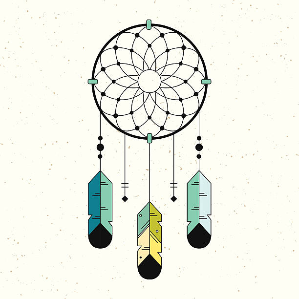 Linear logo dreamcatcher illustration.  Native American Indian Symbol. Geometric flat style. dreamcatcher stock illustrations