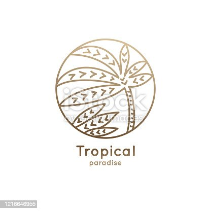 istock Linear logo palm in circle 1216646955