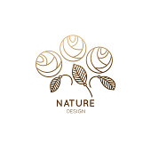 Vector logo of floral element. Abstract flower buds. Rose outline icon. Linear emblem for design of business, flower shop, cosmetics and ecology concepts, health, spa and beauty saloon.