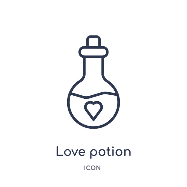 Linear love potion icon from Birthday party outline collection. Thin line love potion vector isolated on white background. love potion trendy illustration Linear love potion icon from Birthday party outline collection. Thin line love potion vector isolated on white background. love potion trendy illustration love potion stock illustrations