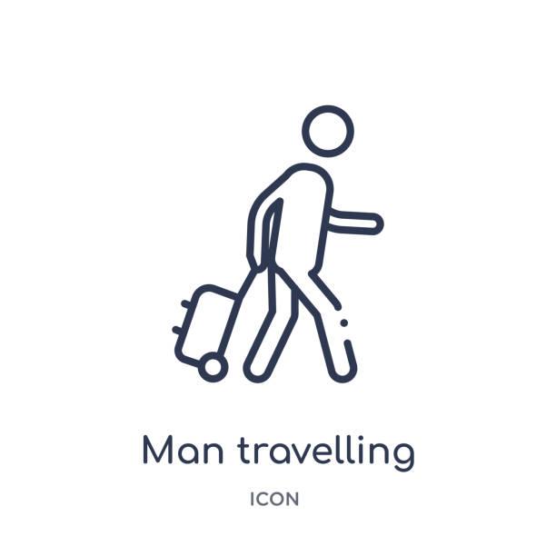 davranış anahattı koleksiyonundan doğrusal adam seyahat simgesi. ince çizgi adam seyahat vektör beyaz arka planda izole. adam popüler illüstrasyon seyahat etmek - turist stock illustrations