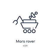 Linear mars rover icon from Astronomy outline collection. Thin line mars rover vector isolated on white background. mars rover trendy illustration
