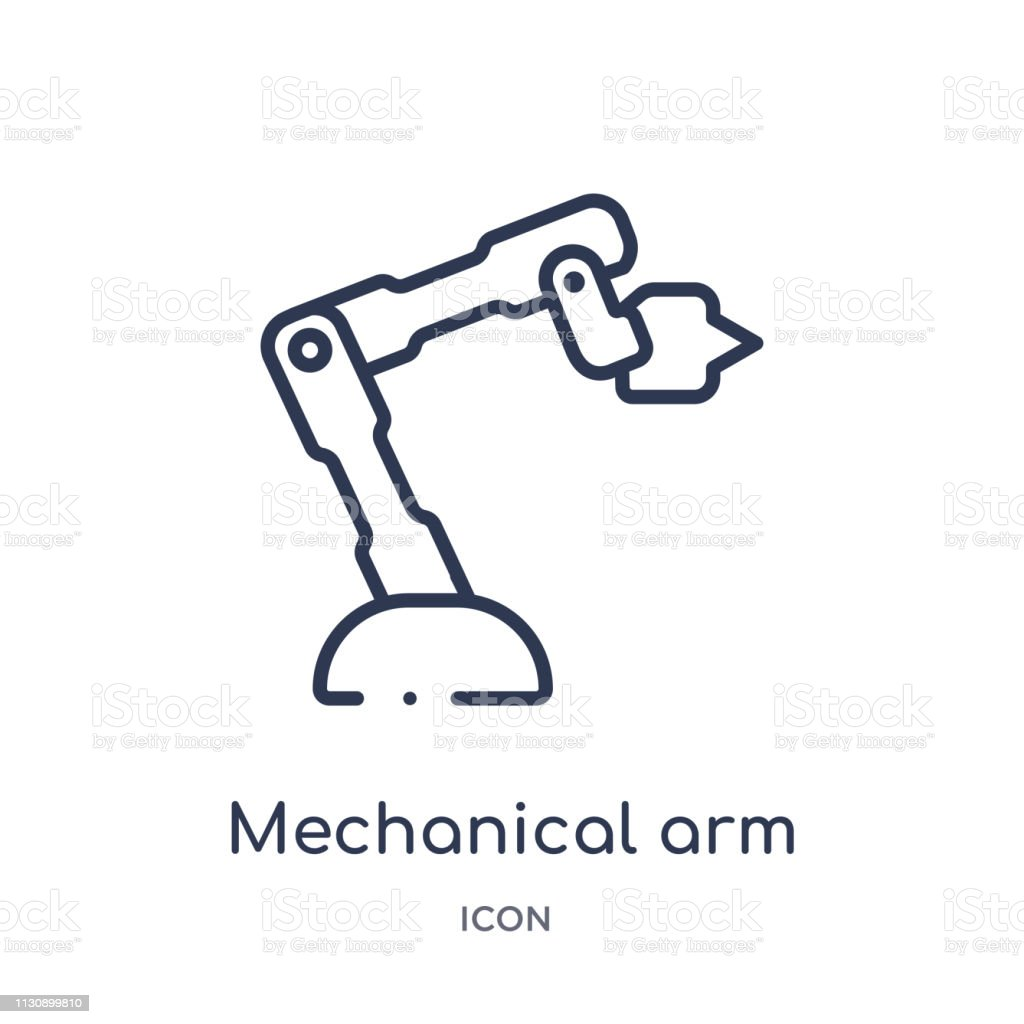 Linear mechanical arm icon from Artifical intelligence outline collection. Thin line mechanical arm vector isolated on white background. mechanical arm trendy illustration vector art illustration