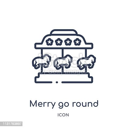 Linear merry go round icon from Circus outline collection. Thin line merry go round vector isolated on white background. merry go round trendy illustration