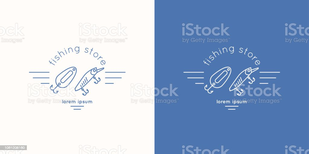 Linear, minimalistic emblem for store fishing. Vector graphic. vector art illustration