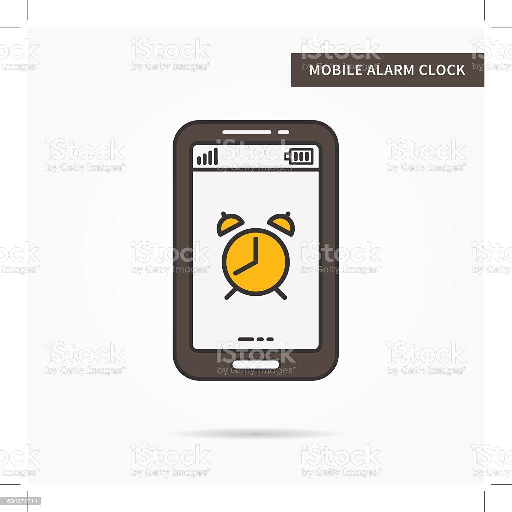 Linear mobile alarm clock vector art illustration