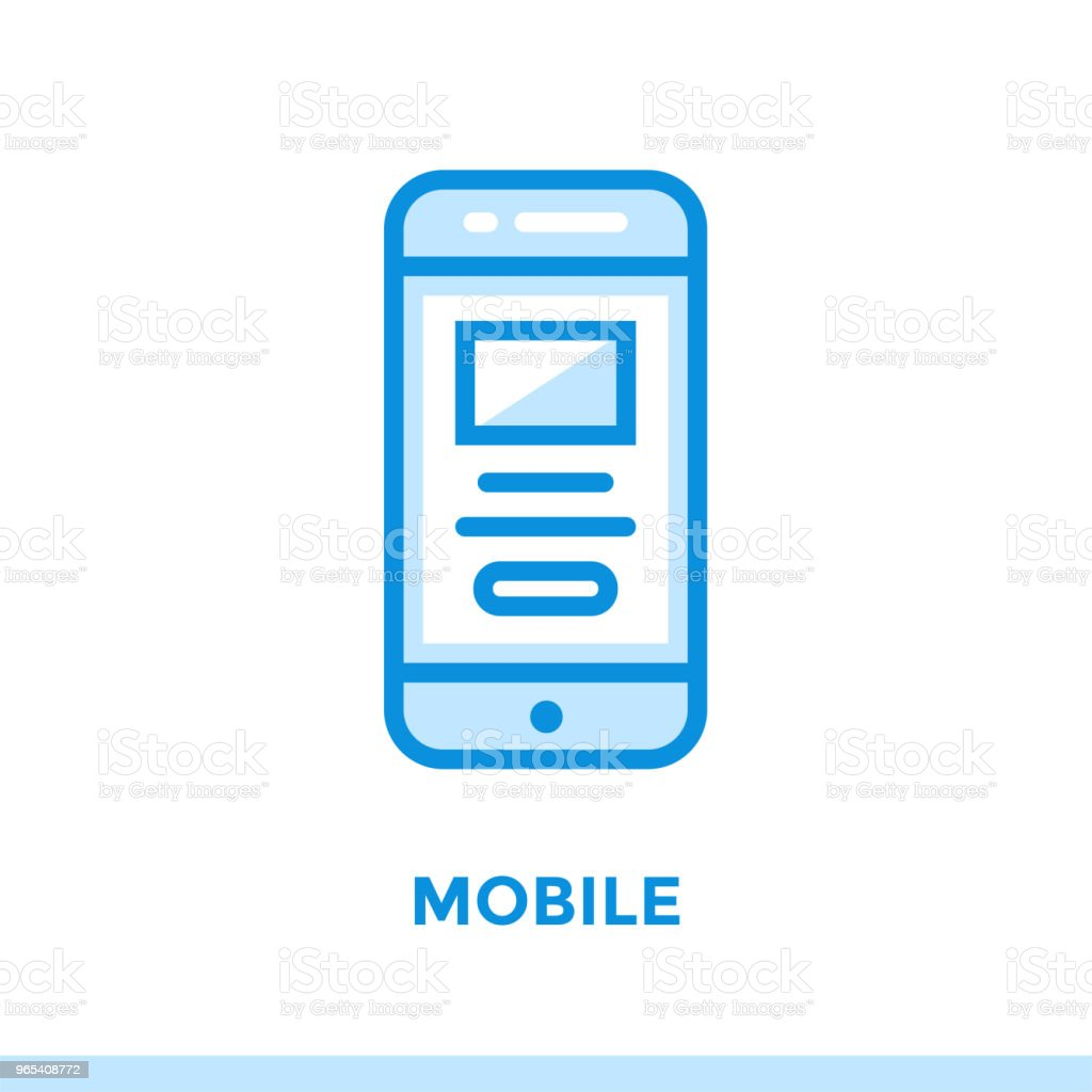 Linear mobile icon for new business. Pictogram in outline style. Vector modern flat icon suitable for print, presentation and website royalty-free linear mobile icon for new business pictogram in outline style vector modern flat icon suitable for print presentation and website stock vector art & more images of business