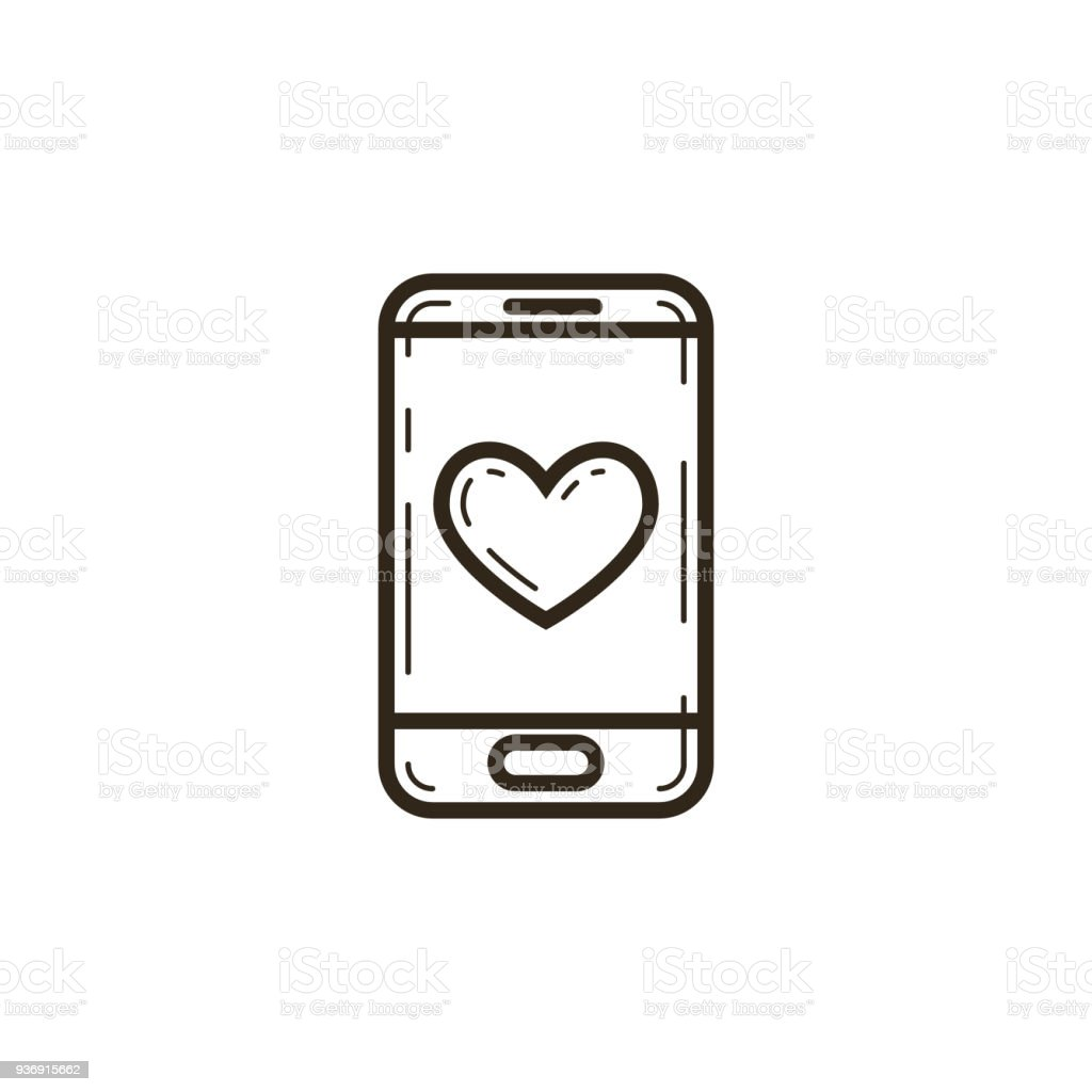 Linear Mobile Phone Icon With A Heart On The Screen Stock Vector Art