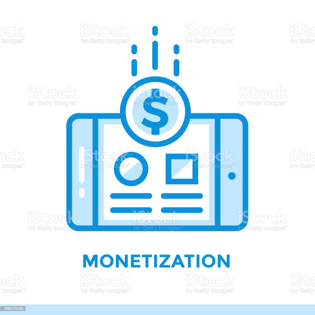 Linear monetization icon for startup business. Pictogram in outline style. Vector flat line icon suitable for mobile apps, websites and presentation royalty-free linear monetization icon for startup business pictogram in outline style vector flat line icon suitable for mobile apps websites and presentation stock vector art & more images of business