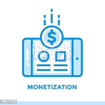 Linear Monetization Icon For Startup Business Pictogram In Outline Style Vector Flat Line Icon Suitable For Mobile Apps Websites And Presentation - Stockowe grafiki wektorowe i więcej obrazów Bez ludzi 965413100