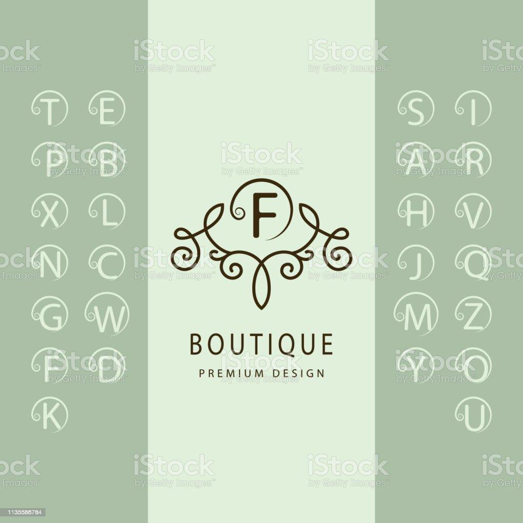 線性字母表範本。一套帶捲曲的時尚資本字母。簡單的徽標。英文字母表。優雅的線條藝術設計。克裡斯特爾斯、皇室、精品店、酒店、餐廳、赫拉爾迪奇的標誌。向量 - 免版稅一組物體圖庫向量圖形