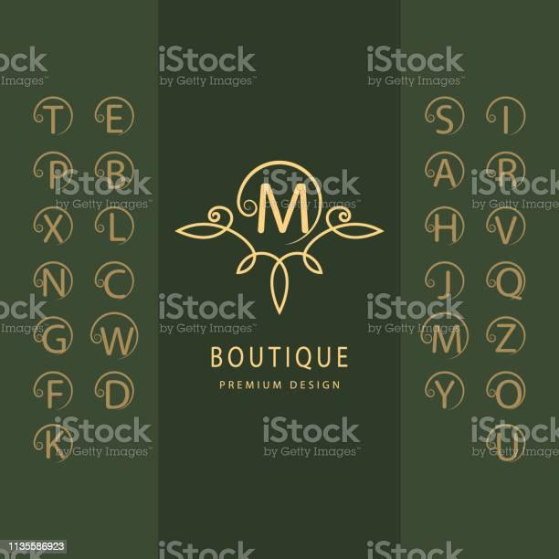 線性字母表範本一套帶捲曲的時尚資本字母簡單的徽標英文字母表優雅的線條藝術設計克裡斯特爾斯皇室精品店酒店餐廳赫拉爾迪奇的標誌向量向量圖形及更多一組物體圖片
