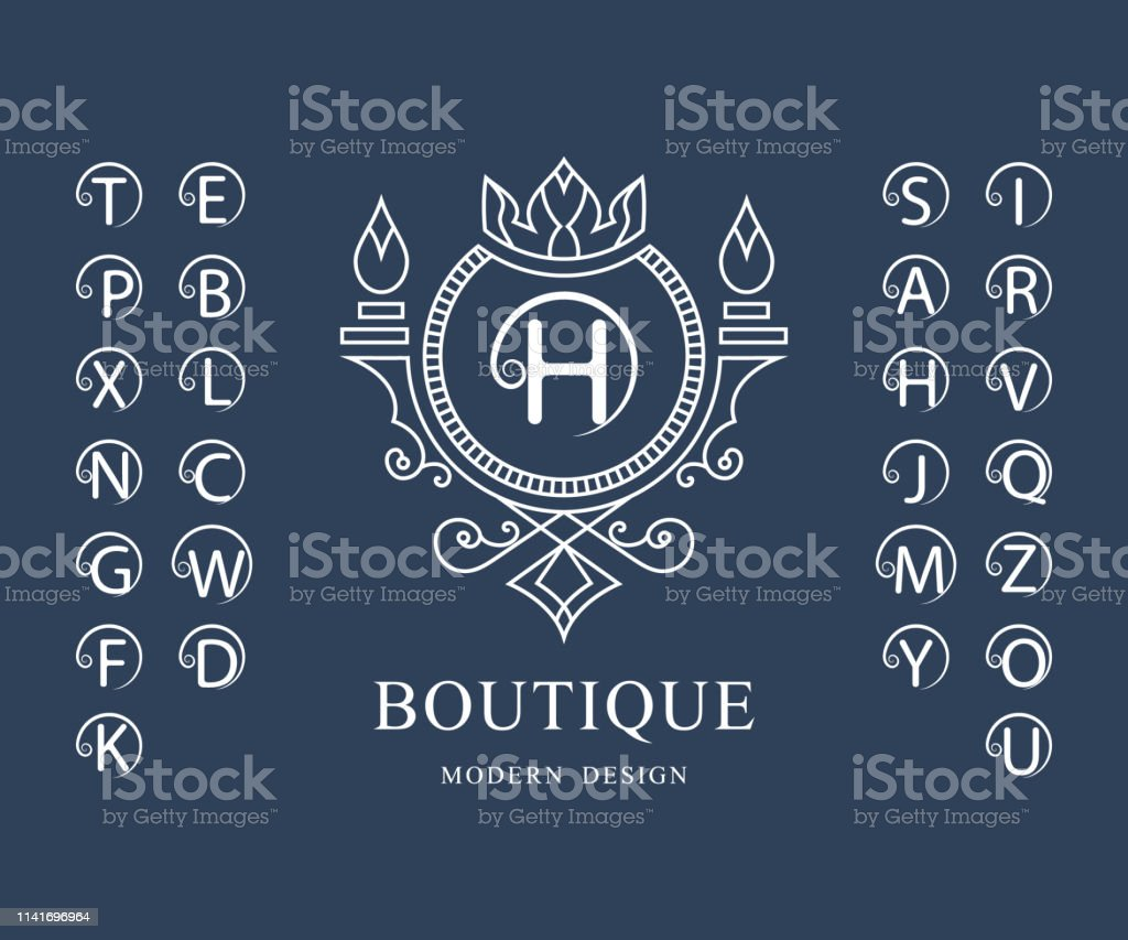 線性字母表範本。一套帶捲曲的時尚資本字母。簡單的徽標。英文字母表。優雅的線條藝術設計。克裡斯特爾斯、皇室、精品店、酒店、餐廳、赫拉爾迪奇的標誌。向量 - 免版稅商務圖庫向量圖形