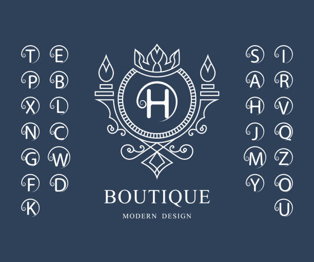 線性字母表範本。一套帶捲曲的時尚資本字母。簡單的徽標。英文字母表。優雅的線條藝術設計。克裡斯特爾斯、皇室、精品店、酒店、餐廳、赫拉爾迪奇的標誌。向量 - weihnachten 幅插畫檔、美工圖案、卡通及圖標