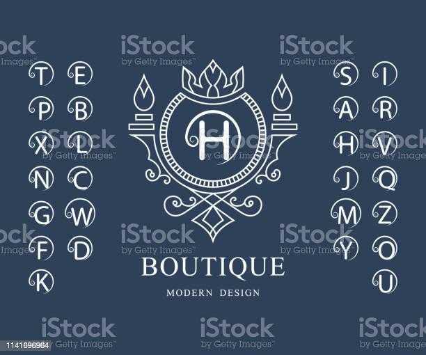 線性字母表範本一套帶捲曲的時尚資本字母簡單的徽標英文字母表優雅的線條藝術設計克裡斯特爾斯皇室精品店酒店餐廳赫拉爾迪奇的標誌向量向量圖形及更多商務圖片