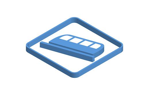 Linear motor blue isometric icon illustration