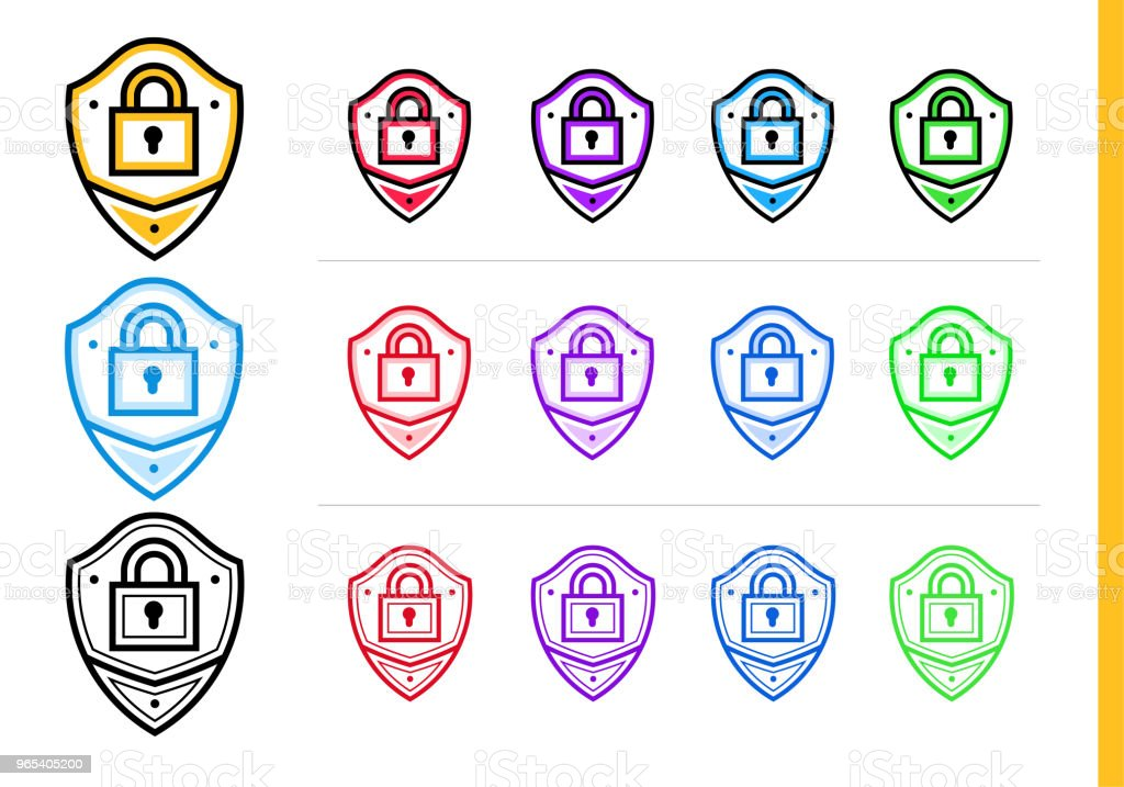 Linear network protection icon for startup business in different colors. Vector elements for website, mobile application royalty-free linear network protection icon for startup business in different colors vector elements for website mobile application stock vector art & more images of business
