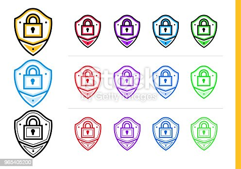 Linear Network Protection Icon For Startup Business In Different Colors Vector Elements For Website Mobile Application Stock Vector Art & More Images of Business 965405200