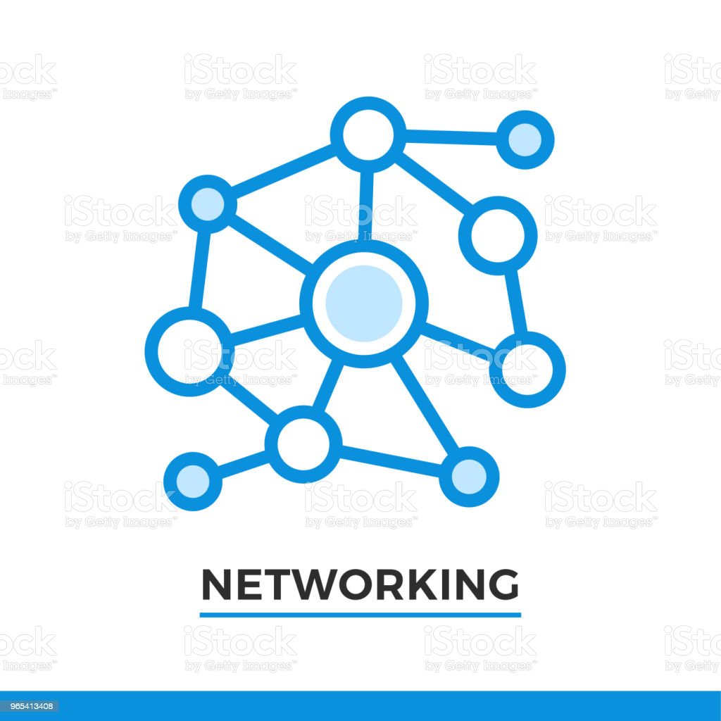 Linear networking icon. Pictogram in outline style. Vector modern flat design element for mobile application and web design. royalty-free linear networking icon pictogram in outline style vector modern flat design element for mobile application and web design stock vector art & more images of business